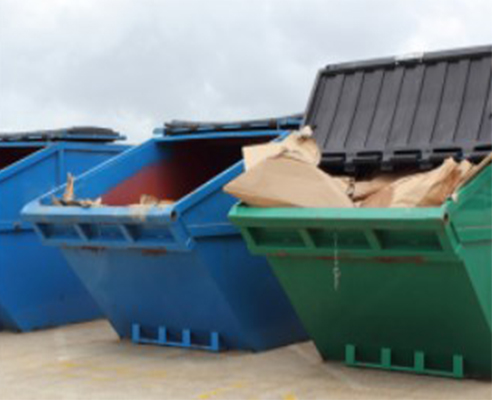 large collection of skips
